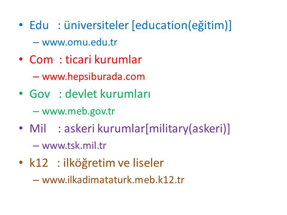 Edu : üniversiteler [education(eğitim)] Com : ticari kurumlar